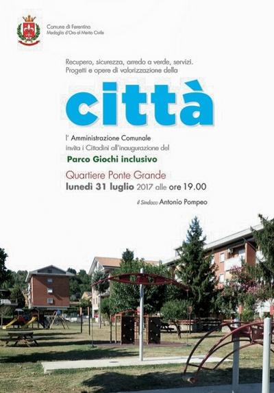 Inaugurazione parco inclusivo a Ferentino