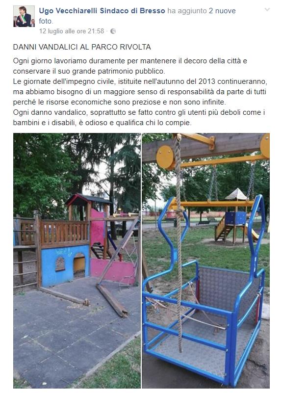 Bresso, vandali al parco