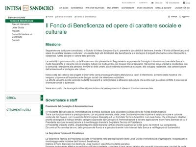 Intesa San Paolo Fondo di Beneficenza ed opere di carattere sociale e culturale