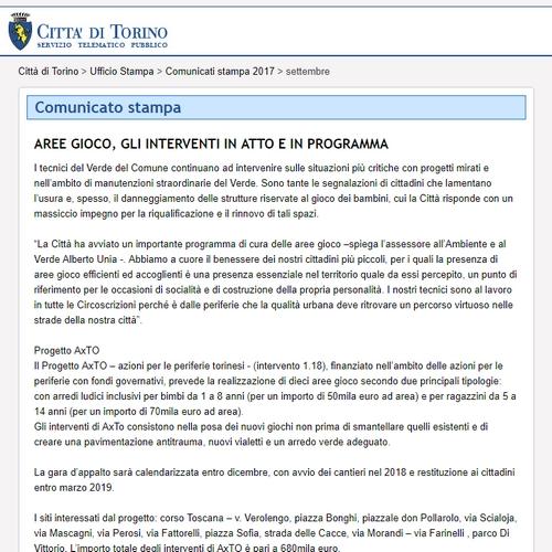 Torino: aree gioco, gli interventi in atto e in programma