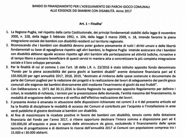 Puglia: bando per l'adeguamento dei parchi gioco