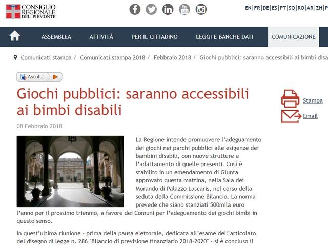 Piemonte: giochi accessibili ai bimbi disabili
