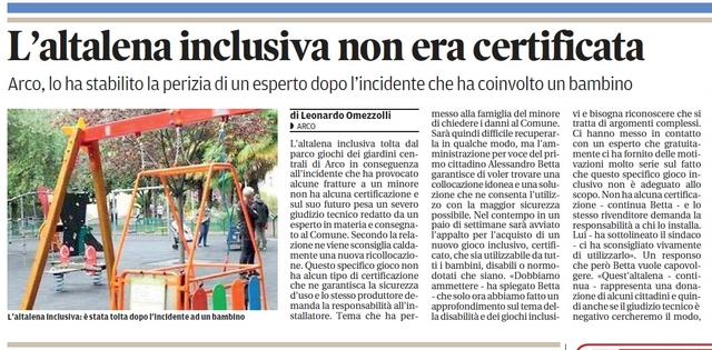 Incidente altalena per carrozzine a Pozzuoli