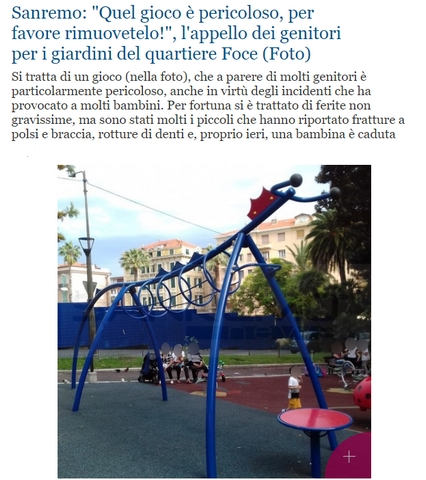 Incidente al parco giochi a Sanremo