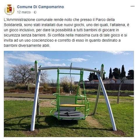 Campomarino, distrutta altalena disabili