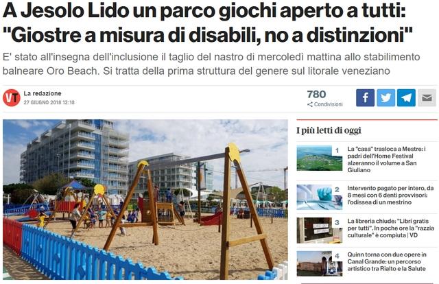 """Jesolo parco """"inclusivo"""" su sabbia"""