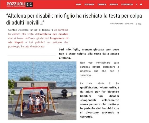 """""""Altalena per disabili: mio figlio ha rischiato la testa…"""""""