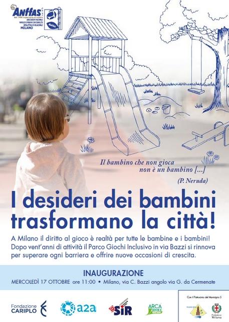 Il nuovo parco giochi di Anffas Milano in via Bazzi