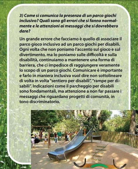 Newsletter dell'associazione La Casa sull'Albero sui parchi inclusivi