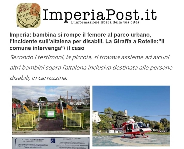Incidente altalena per carrozzine
