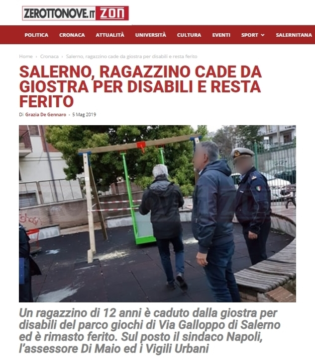 Salerno, incidente con l'altalena per disabili