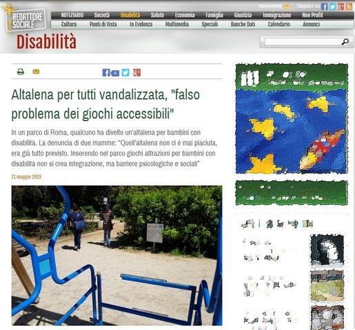"""Altalena vandalizzata, """"falso problema dei giochi accessibili"""""""