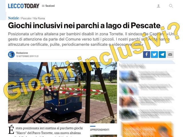 Un'altalena per disabili che renderà il parco giochi inclusivo?