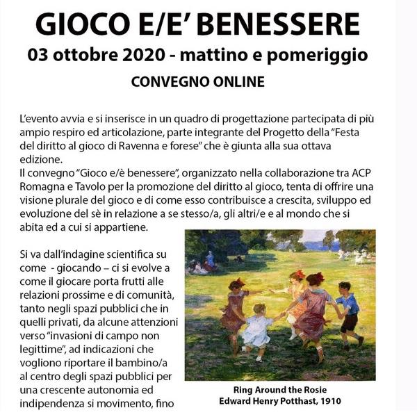 GIOCO E/È BENESSERE convegno 3 ottobre 2020