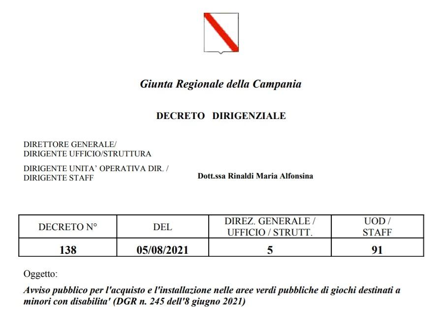 Regione Campania: bando acquisto e installazione giochi